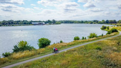 beautiful view overlooking a lake in nene park