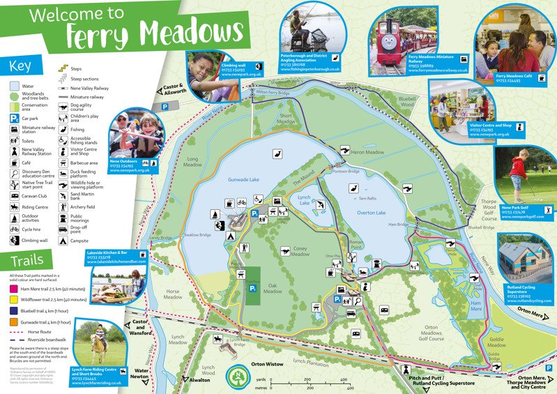 illustrated map of ferry meadows
