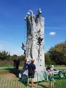 mobile climbing wall set up in a Park