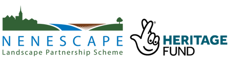 nenescape logo and heritage lottery logo