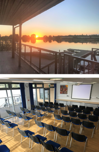 two photos showing a meeting room over looking a lake