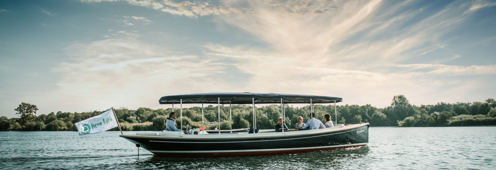 eco electric boat trips on the lake in nene park