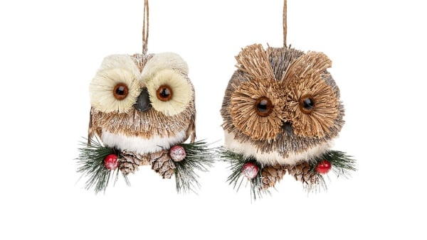 Pair of Country Hanging Owl Decorations