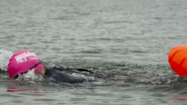 open water swimming in a lake
