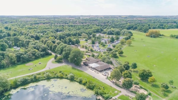 aerial view of Ferry Meadows  in Peterborough